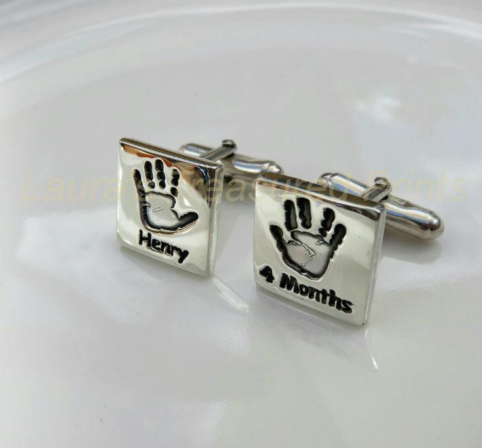 Foundry cast silver hand-print Cufflinks