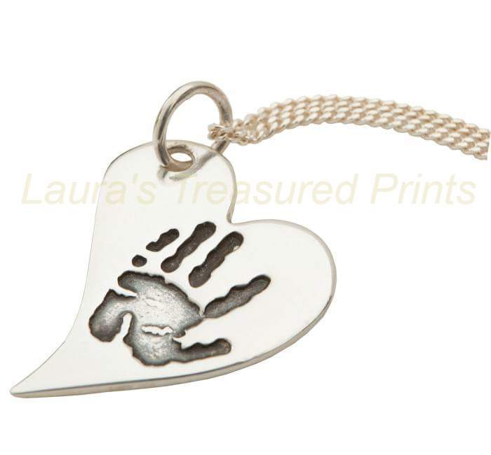 Curved heart hand- print pendant