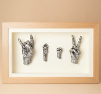 Family of three hand casts with dog's paw cast