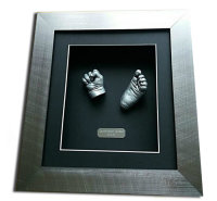 Baby hand and foot casts in a brushed Silver frame