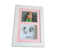 Two 3D baby casts, framed with a photo