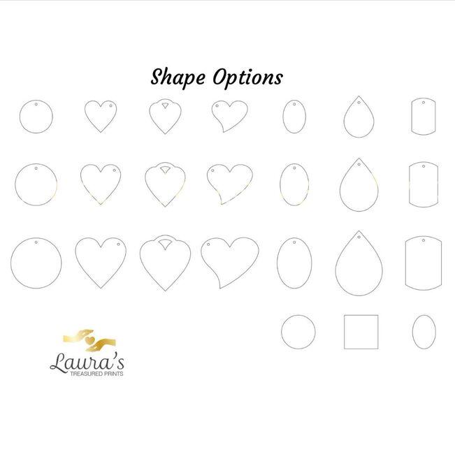 Ink print and Fingerprint Jewellery Shape options