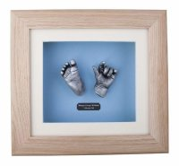 3D hand & Foot newborn baby cast in solid oak frame with back backing board