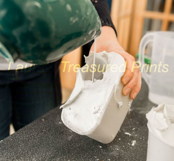 Pouring the stone into the mould