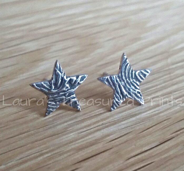 Star fingerprint silver stud Earrings