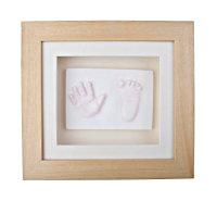 2D child's handprint & footprint plaque, in oak frame
