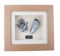 Silver effect finish 3D hand & foot cast in solid oak frame.