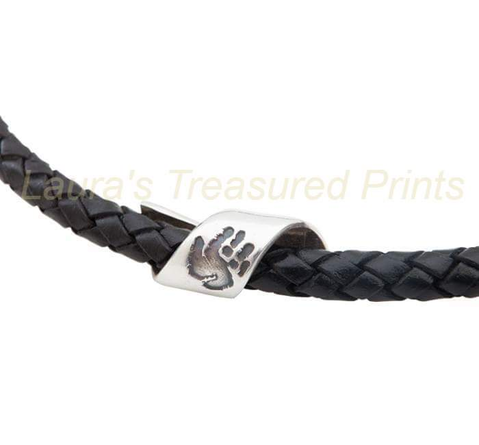 Whirl handprint bead with Leather Bracelet