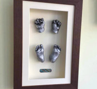 3d silver effect newborn baby hand and foot casts.