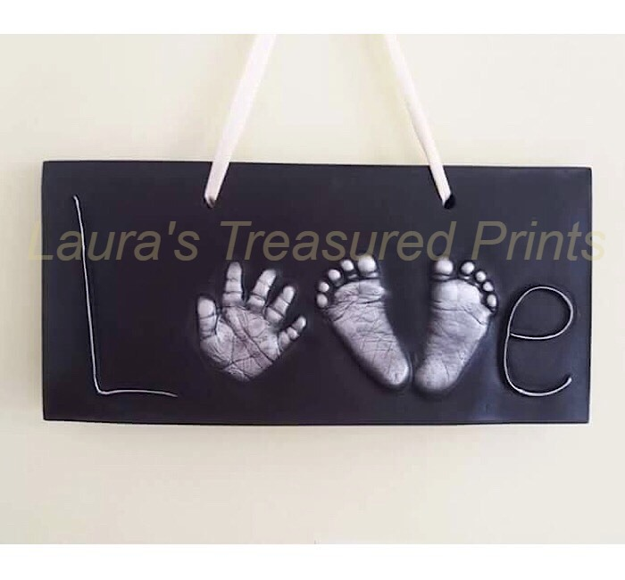 2d love plaque with hand and foot prints- £100