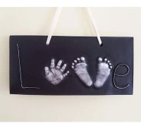 2d love plaque with hand and foot prints- £90