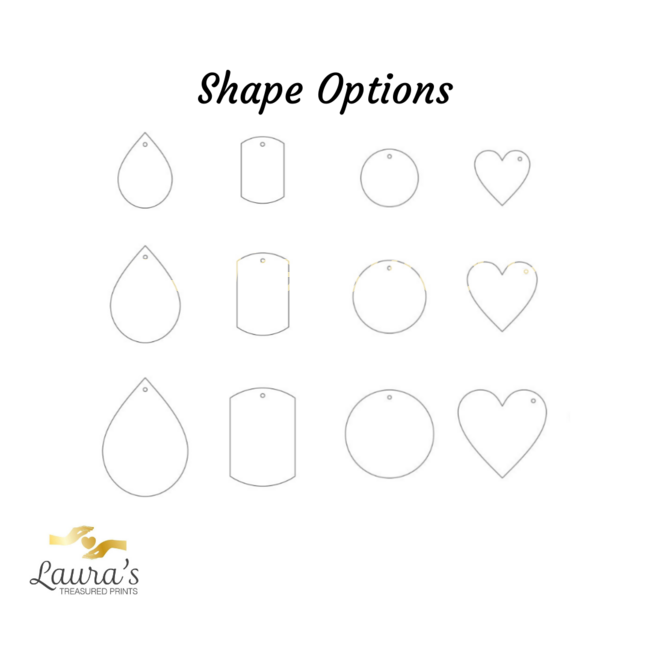 Shape options for impression jewellery