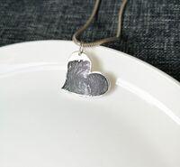 Curved heart fingerprint pendant