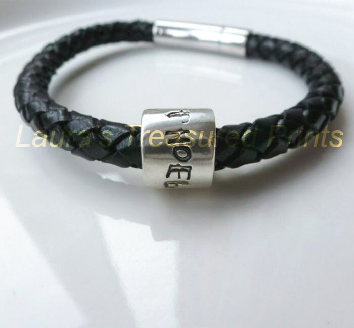 Sterling silver print barrel bead on bracelet