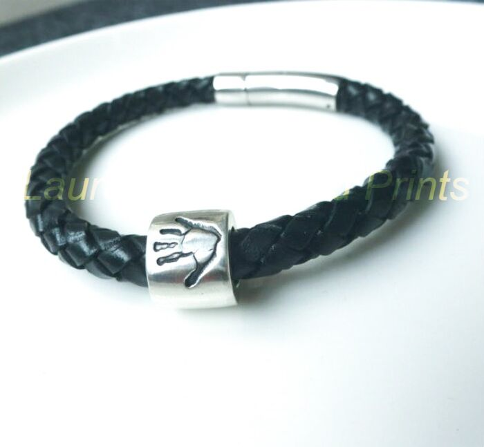 Leather Bracelet with Silver handprint bead