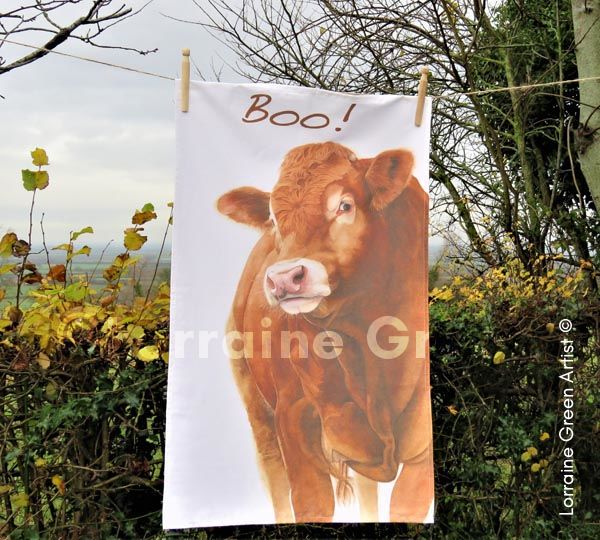 Boo! A cotton tea towel featuring 'Hector' the Limousin bull image.