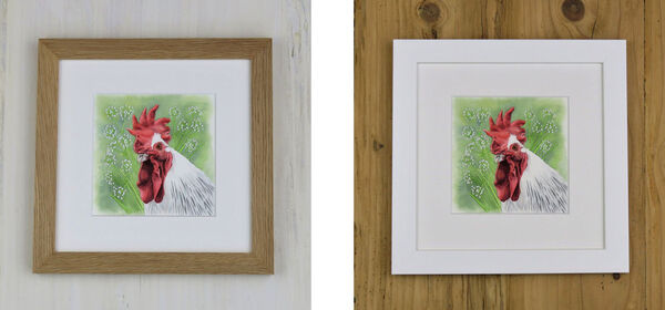 Cow Parsley Chicken is available in either an Oak Frame or a White Frame