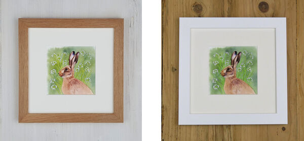 Cow Parsley Hare (I) is available in either an Oak Frame or a White Frame