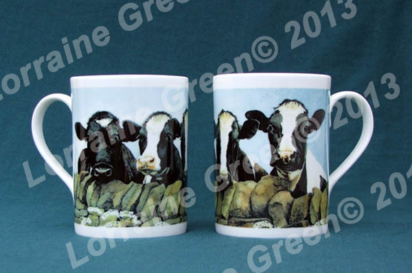 Bone china mug with 4 nosey Friesian Cows for decoration