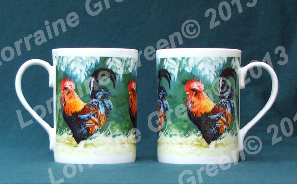 Bone china mug decorated with a colourful, proud cockerel.