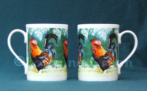 Bone china mug decorated with a colourful, proud cockerel.