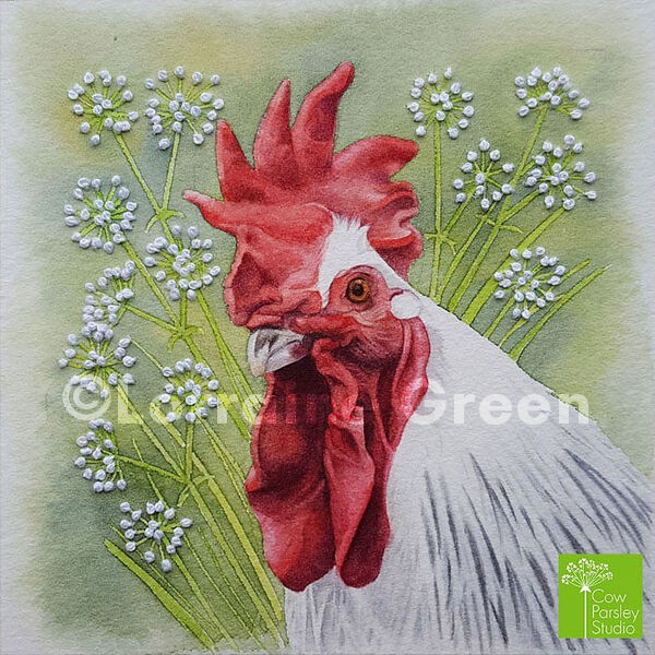 Small Framed Watercolour Chicken with embellishment
