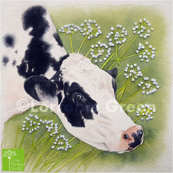Small Framed Watercolour of a Cow with embellishment