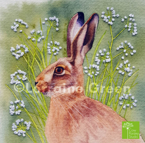 Small Framed Watercolour Hare with embellishment