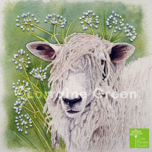 Small Framed Watercolour Cotswold Sheep with embellishment
