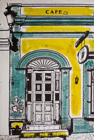 barrio cafe - 6x9 intaglio print (non-toxic) 2010
