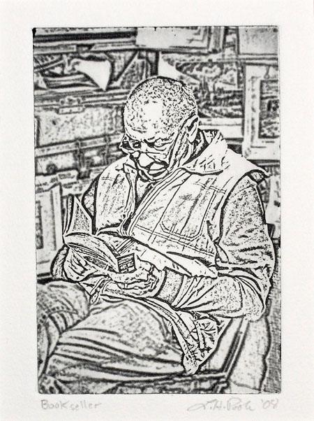 Book Seller - 4 x 6 Intaglio Print (Non-Toxic) 2008