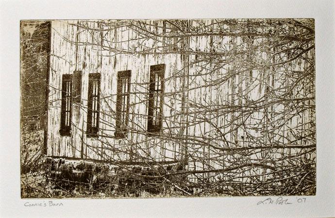 Connie's Barn - 6x10 Intaglio Print (Non-Toxic) 2007