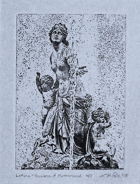 Goddess of Motherhood - 5 x 7 Intaglio Print (Non-Toxic) on Handmade Paper 2008