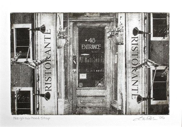 Neighborhood Stop - 7 x 10 Intaglio Print (Non-Toxic) 2006