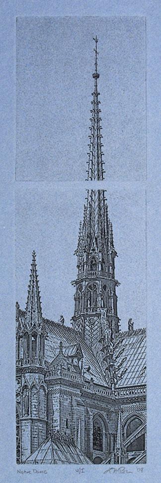Notre Dame - 4.5 x 16 Intaglio Print (Non-Toxic) on Handmade Paper 2008