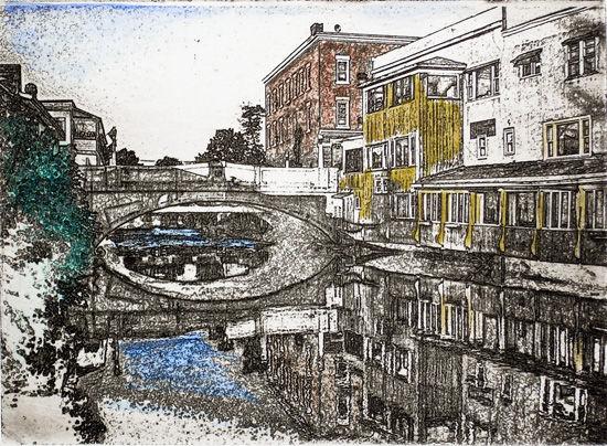 our river view - 5 x 7 intaglio print (non-toxic) 2009