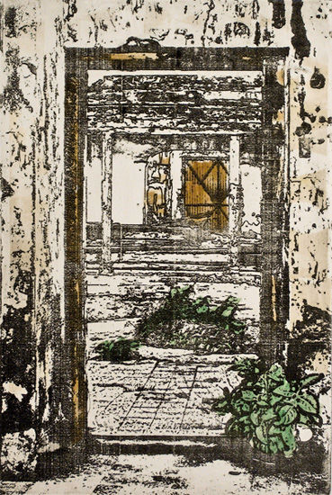 patio de ayer - 6x9 intaglio print (non-toxic) 2010