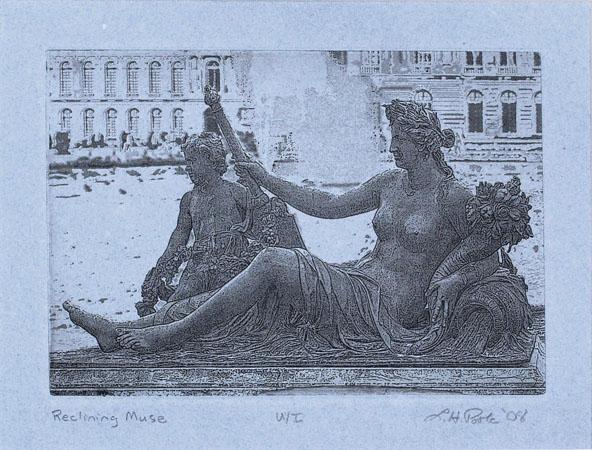 Reclining Muse - 5x7 Intaglio Print (Non-Toxic) on Handmade Paper 2008