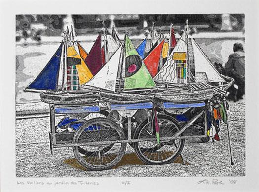 Sailboats des Toileries - 7 x 10 Intaglio Print  (Non-Toxic) with watercolor 2008