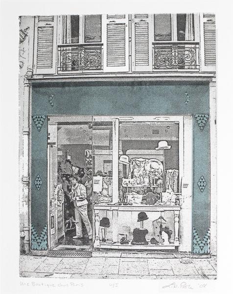 Une Boutique dans Paris - Intaglio Print with chine collé (Non-Toxic) 2008