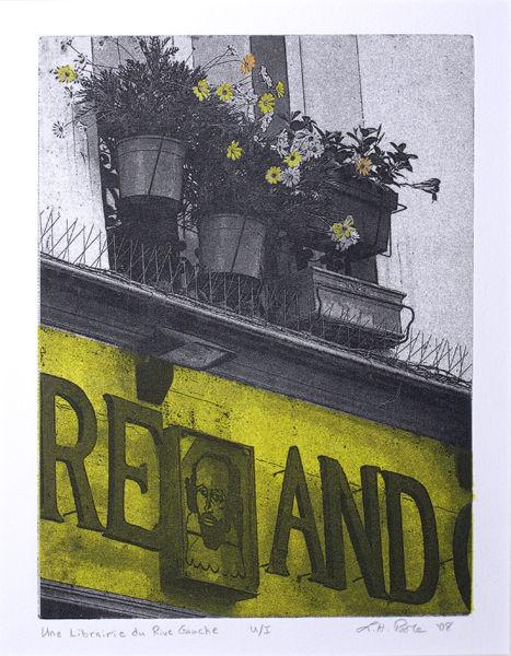 Une Librairie du Rive Gauche - 8 x 10 Intaglio Print with Chine Collé and Watercolor (Non-Toxic) 2008