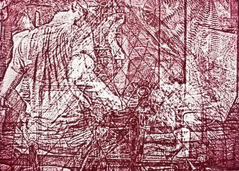 hot shop - 10x14 intaglio print (non-toxic) 2009