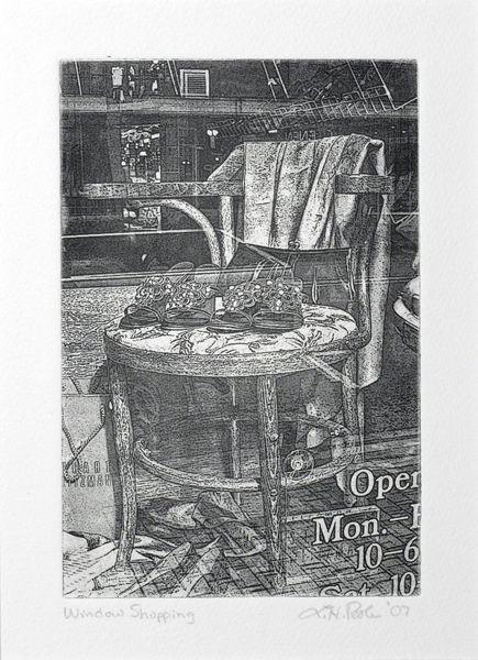 Window Shopping - 4 x 6 Intaglio Print (Non-Toxic) 2007
