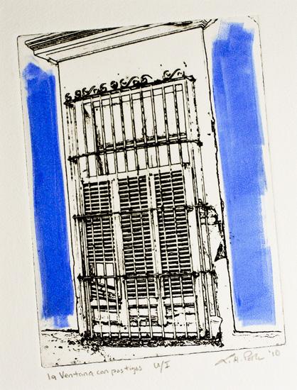 la ventana con postigos - 5x7 intaglio print (non-toxic) 2010