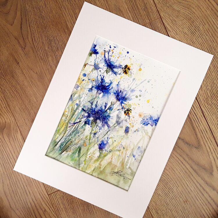 Cornflower painting L J Holmes