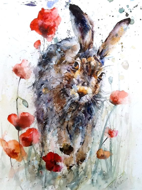 Dashing hare original painting