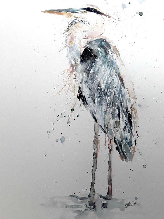 Heron bird painting
