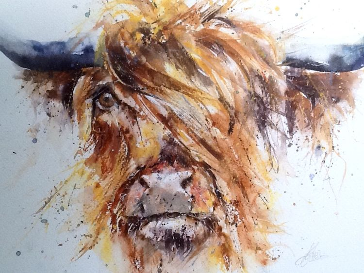 Highland cow painting original