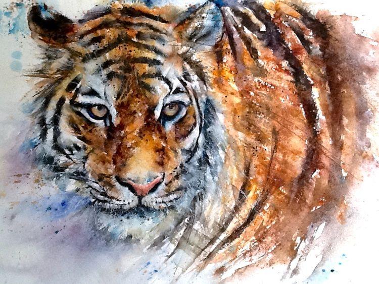 Tiger cat painting