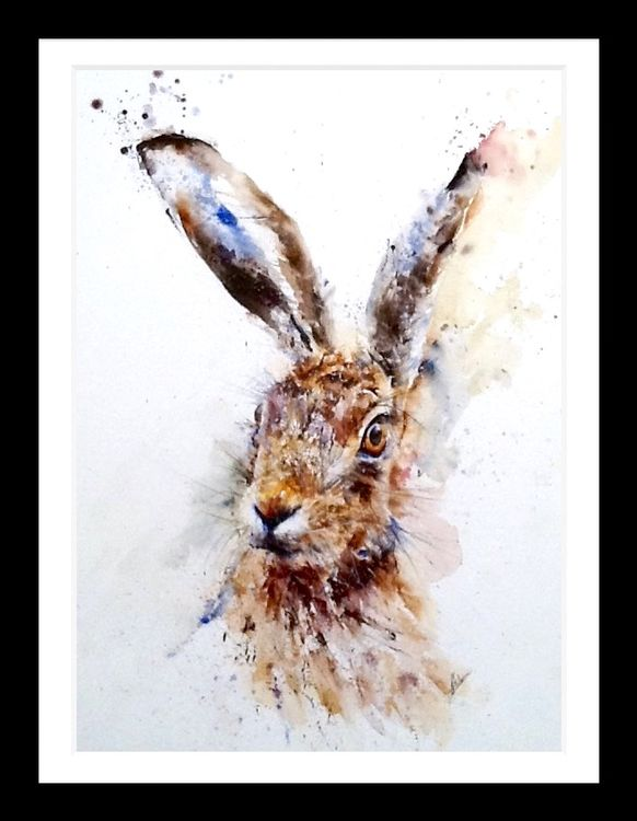 Watercolour hare painting art